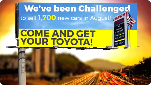 We've been challenged to sell 1700 new cars in August!