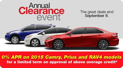 Toyota Clearance Event is going on now until September 8th.