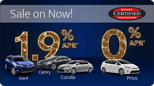 Toyota Certified Used Vehicles - ON SALE NOW! 0%* APR on Prius, 1.9%* APR on Camry, Corolla, and RAV4