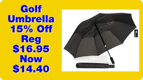 Golf Umbrella 15% Off - Regularly $16.95 Now $14.40