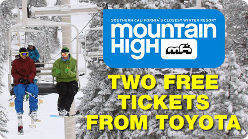 Two Complimentary Mountain High Lift Tickets