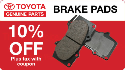 Genuine Toyota Brake Pads 10% Off plus tax with coupon
