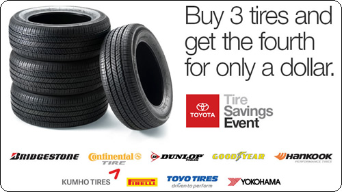 Service Special - Buy 3 tires and get the fourth for one dollar